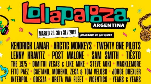 Lollapalooza Argentina confirma su grilla para 2019
