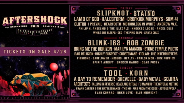Revelan line up para Aftershock 2019